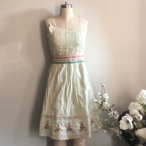 Anthropologie Odille Lace Embroidered Apron Dress.